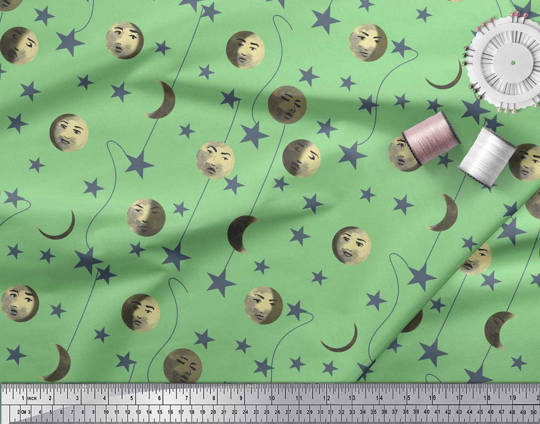 Soimoi-Cotton-Poplin-Fabric-Moon-amp-Stars-Galaxy-Print-Fabric-by-T4k thumbnail 4
