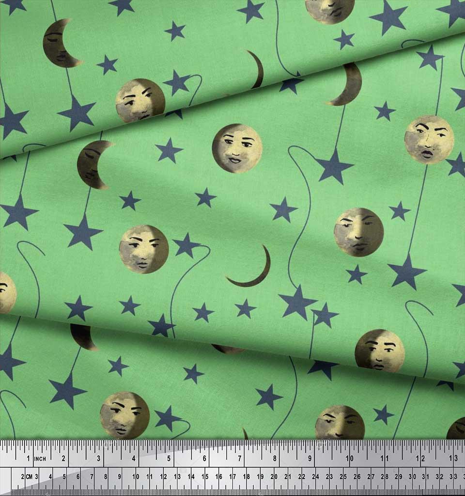 Soimoi-Cotton-Poplin-Fabric-Moon-amp-Stars-Galaxy-Print-Fabric-by-T4k thumbnail 3