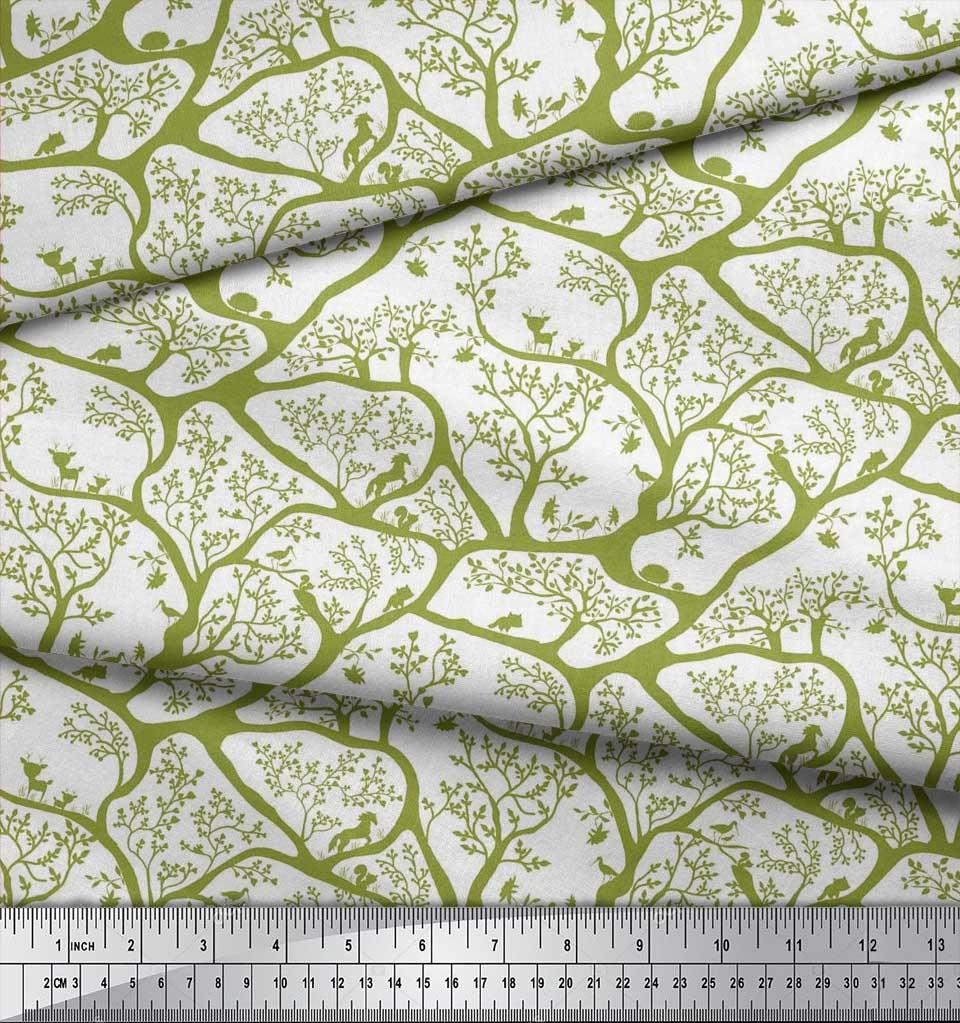 Soimoi-Fabric-Animal-amp-Tree-Print-Fabric-by-the-Yard-TR-586H thumbnail 6