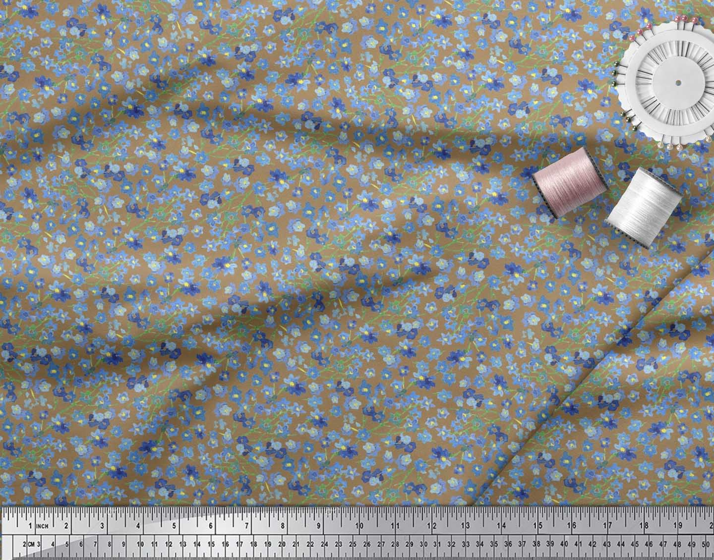 Soimoi-Brown-Cotton-Poplin-Fabric-Flower-Watercolor-Printed-Craft-fZ1 thumbnail 4