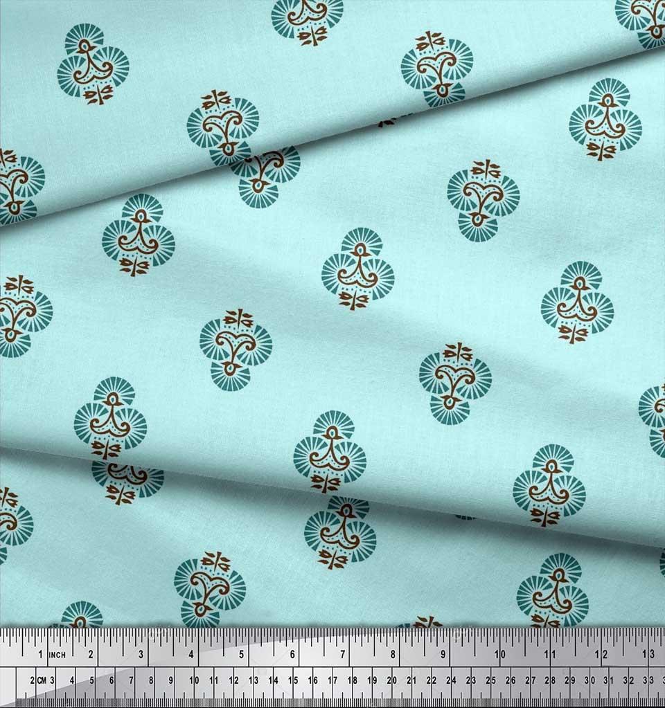 Soimoi-Cotton-Poplin-Fabric-Floral-Block-Printed-Craft-Fabric-by-i6R thumbnail 4