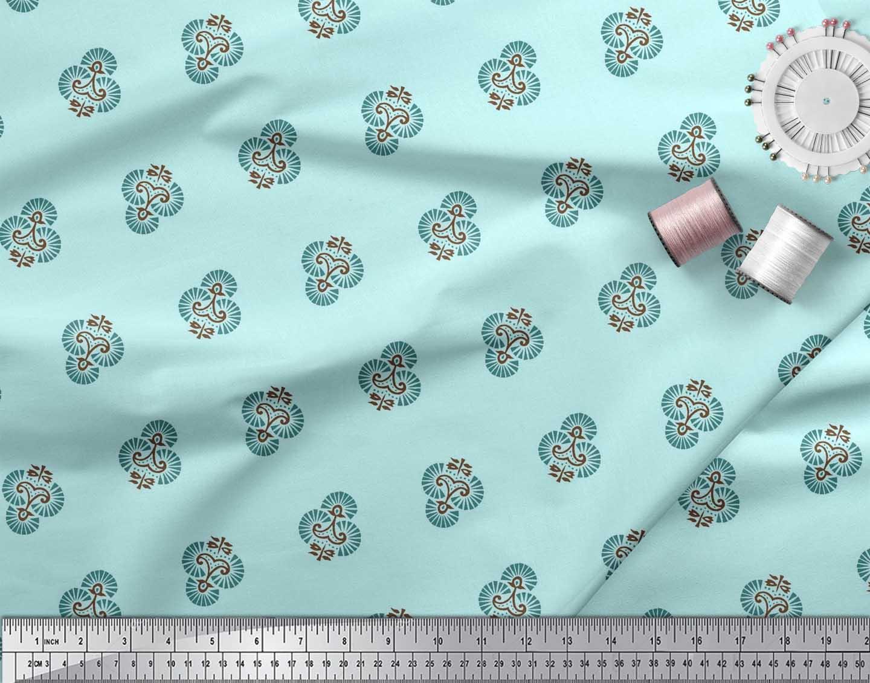 Soimoi-Cotton-Poplin-Fabric-Floral-Block-Printed-Craft-Fabric-by-i6R thumbnail 3