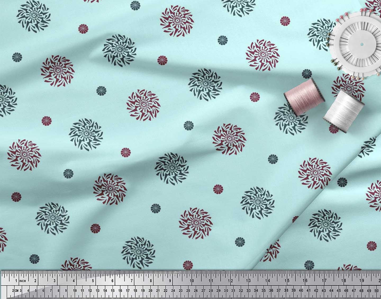 Soimoi-Cotton-Poplin-Fabric-Floral-Block-Fabric-Prints-By-metre-cs3 thumbnail 3