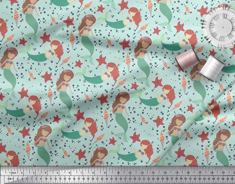 Soimoi-Cotton-Poplin-Fabric-Mermaid-amp-Starfish-Ocean-Print-Sewing-iEC thumbnail 3