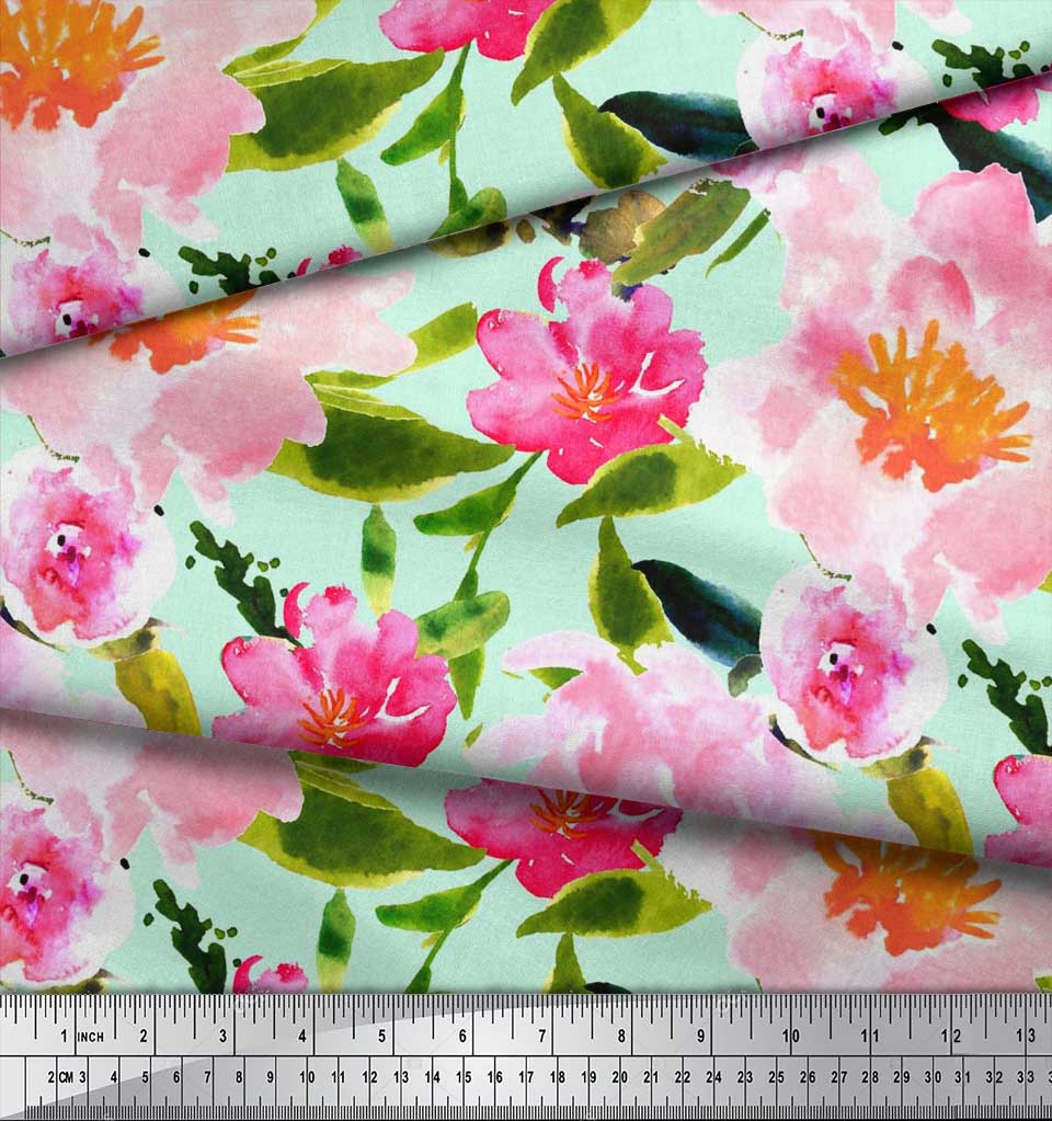 Soimoi-Cotton-Poplin-Fabric-Flower-amp-Leaves-Watercolor-Printed-Craft-BCQ thumbnail 3