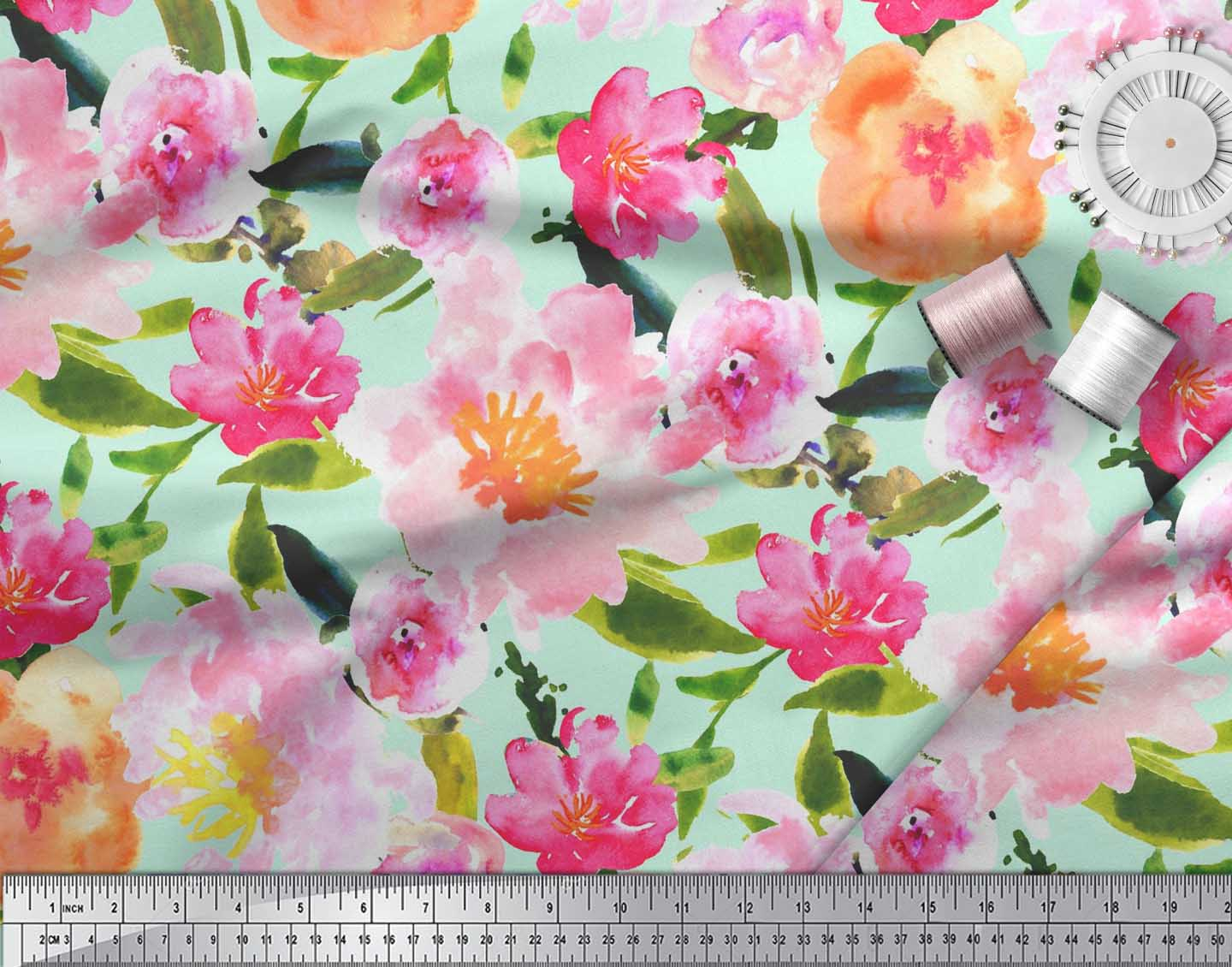 Soimoi-Cotton-Poplin-Fabric-Flower-amp-Leaves-Watercolor-Printed-Craft-BCQ thumbnail 4