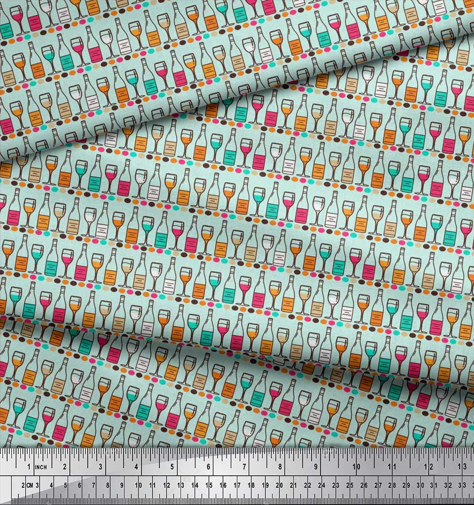 Soimoi-Cotton-Poplin-Fabric-Bottle-amp-Wine-Glass-Bar-Print-Fabric-Csp thumbnail 4