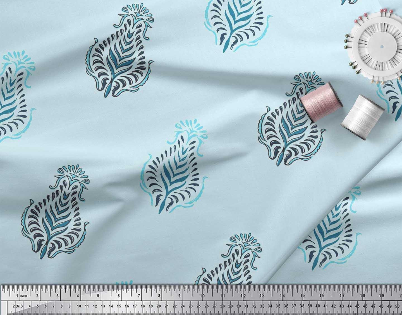 Soimoi-Cotton-Poplin-Fabric-Leaves-Block-Fabric-Prints-By-metre-lmW thumbnail 3