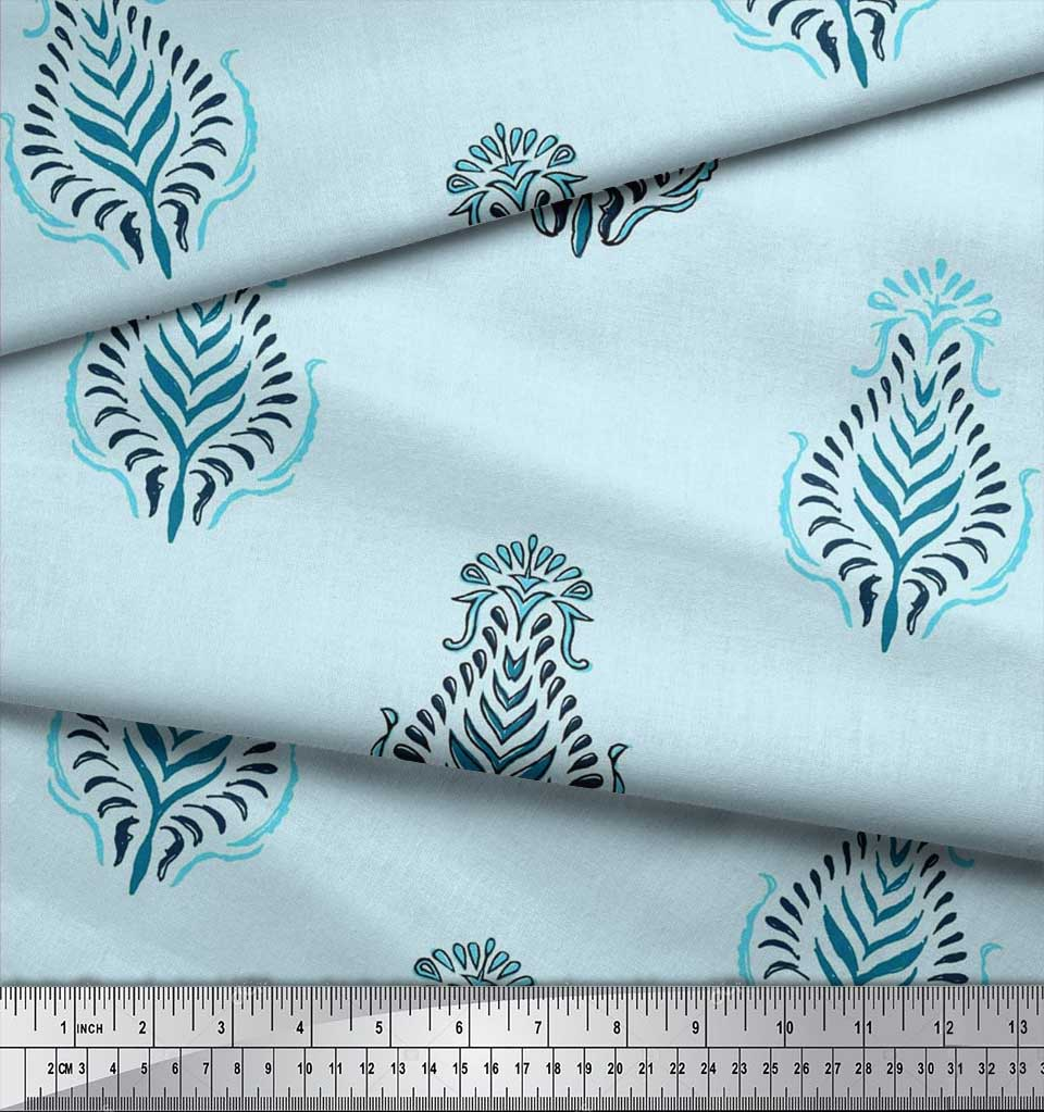 Soimoi-Cotton-Poplin-Fabric-Leaves-Block-Fabric-Prints-By-metre-lmW thumbnail 4