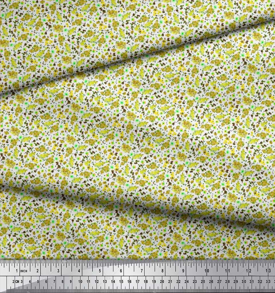 Soimoi-Cotton-Poplin-Fabric-Flower-Watercolor-Print-Fabric-by-the-0ZO thumbnail 3