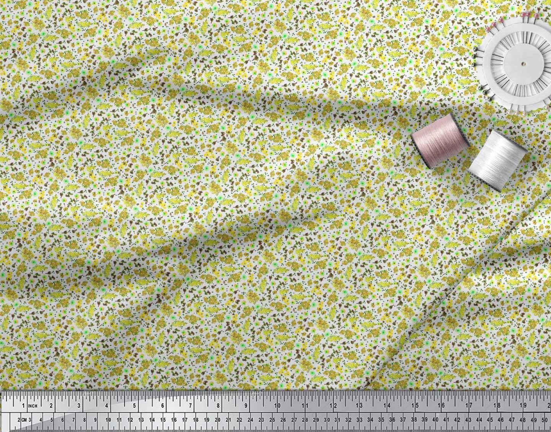 Soimoi-Cotton-Poplin-Fabric-Flower-Watercolor-Print-Fabric-by-the-0ZO thumbnail 4