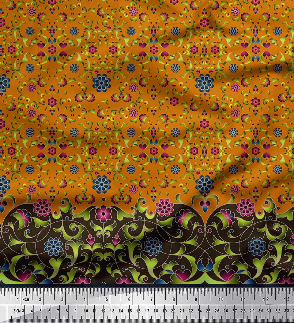 Soimoi-Cotton-Poplin-Fabric-Floral-amp-Leaves-Panel-Print-Fabric-by-5GU thumbnail 3
