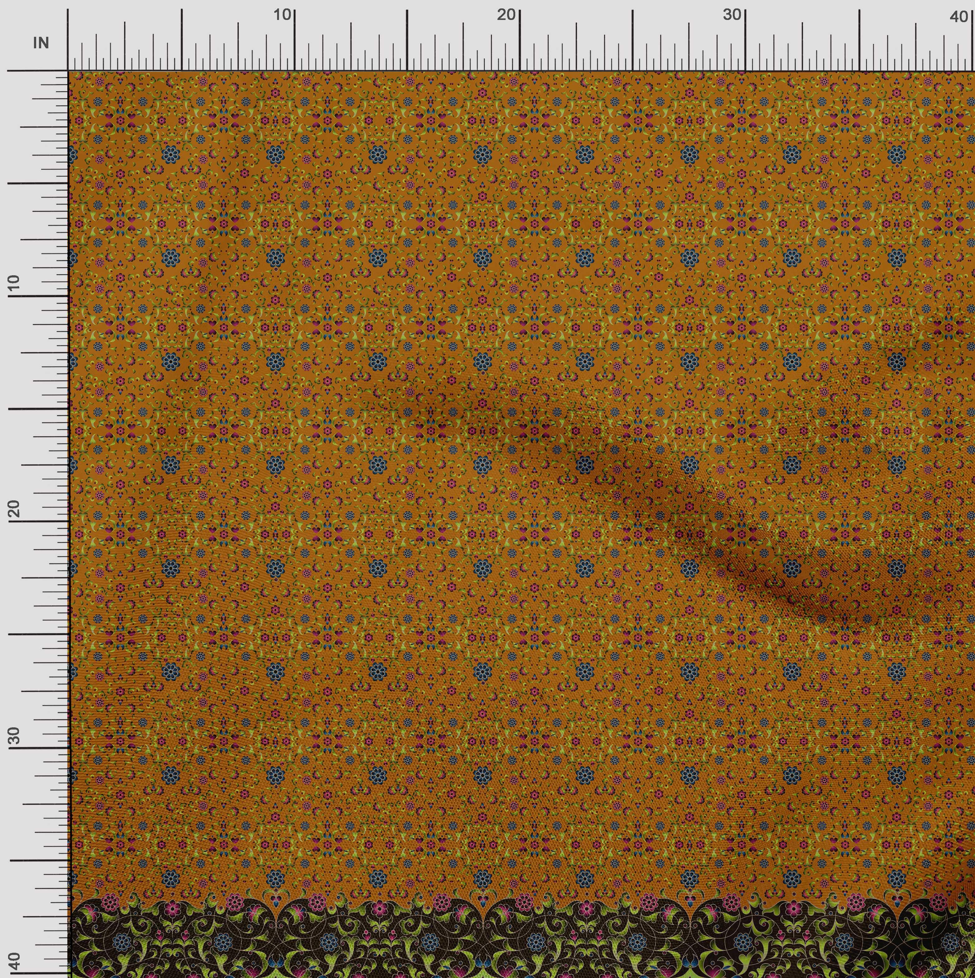 Soimoi-Cotton-Poplin-Fabric-Floral-amp-Leaves-Panel-Print-Fabric-by-5GU thumbnail 2