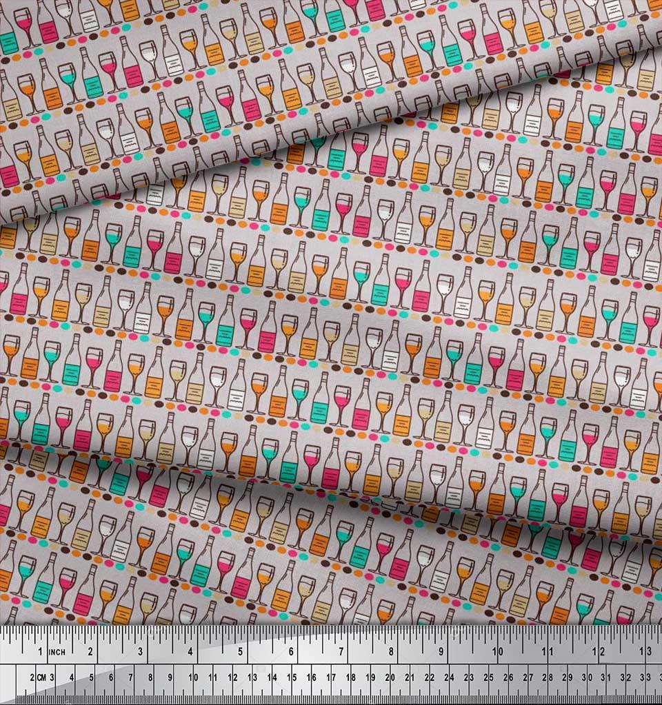 Soimoi-Cotton-Poplin-Fabric-Bottle-amp-Wine-Glass-Bar-Print-Fabric-DEc thumbnail 4