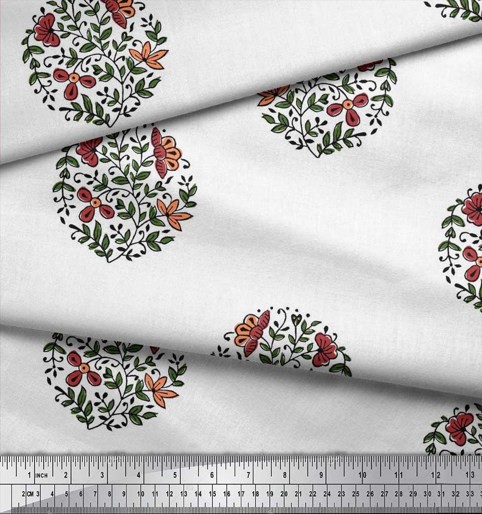 Soimoi-Fabric-Leaves-amp-Floral-Block-Print-Fabric-by-the-Yard-BP-101B thumbnail 16