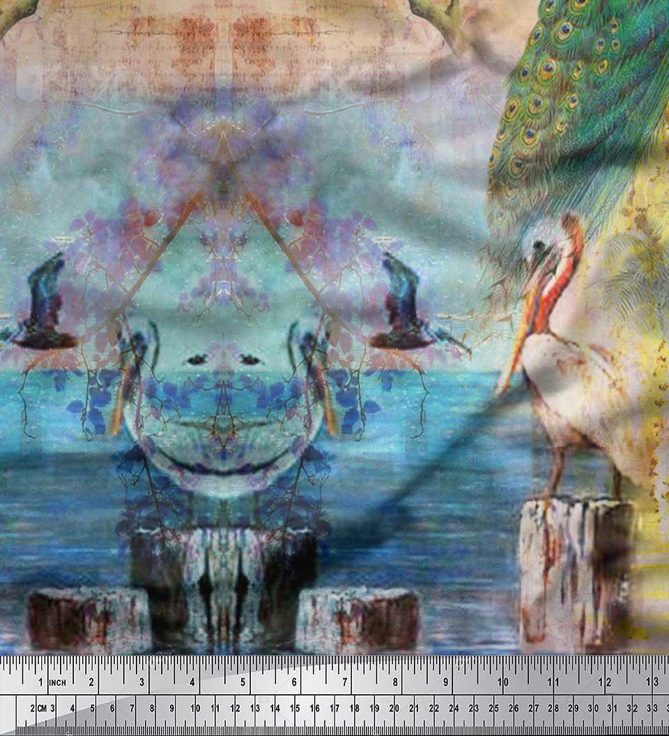 Soimoi-Cotton-Poplin-Fabric-Peacock-Panel-Print-Fabric-by-metre-rib thumbnail 3