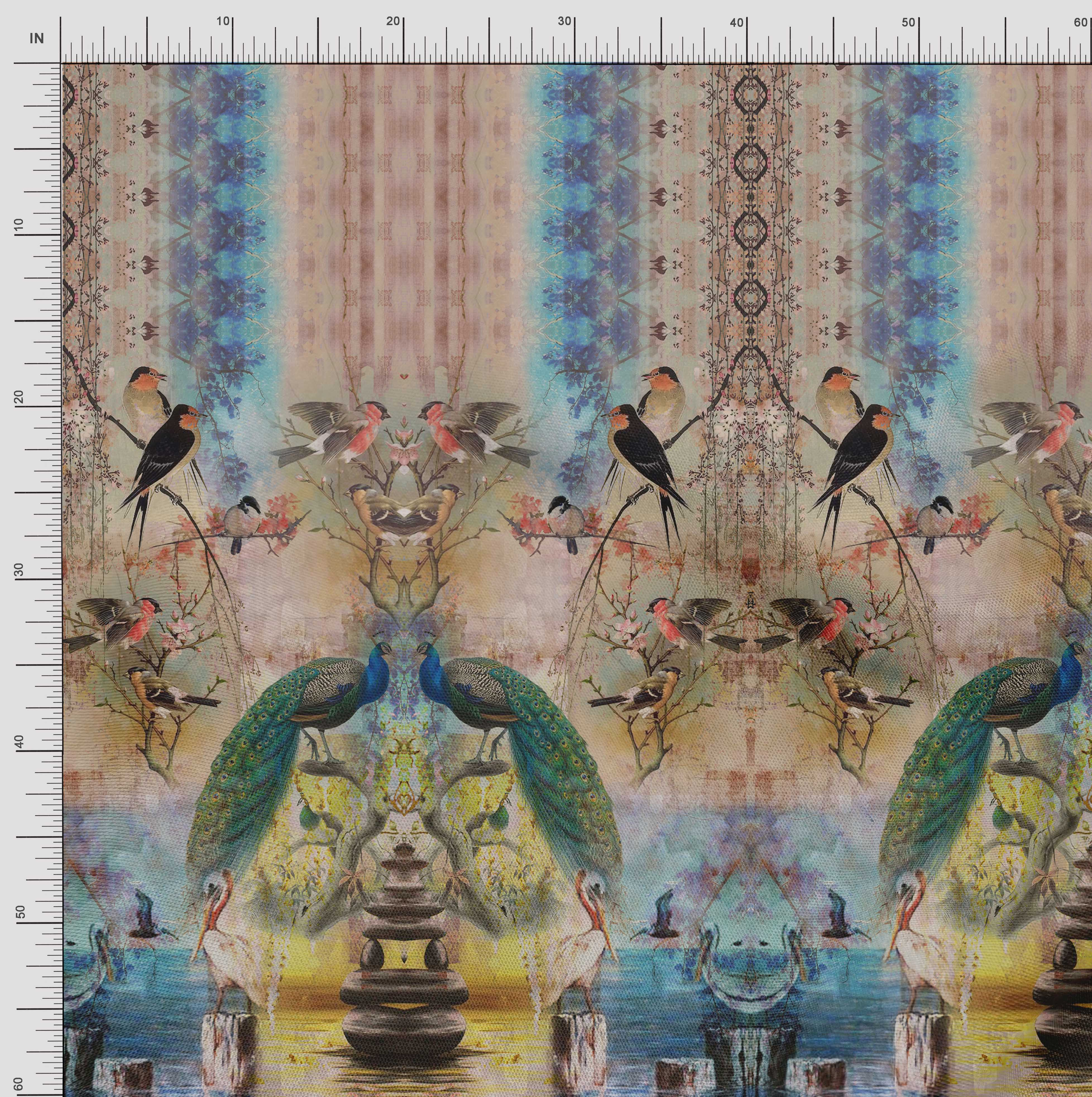 Soimoi-Cotton-Poplin-Fabric-Peacock-Panel-Print-Fabric-by-metre-rib thumbnail 4