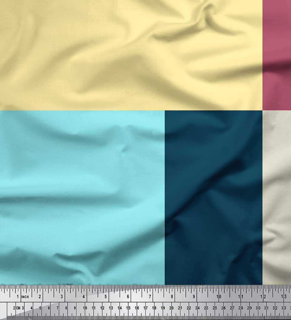 Soimoi-Cotton-Poplin-Fabric-Geometric-Panel-Print-Sewing-Fabric-qIW thumbnail 3
