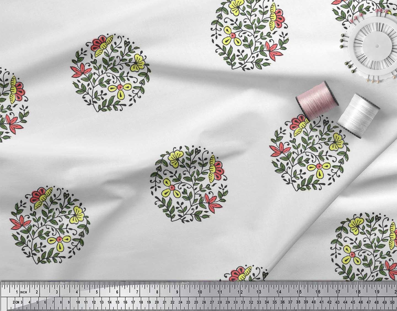 Soimoi-Fabric-Leaves-amp-Floral-Block-Print-Fabric-by-the-Yard-BP-101B thumbnail 12