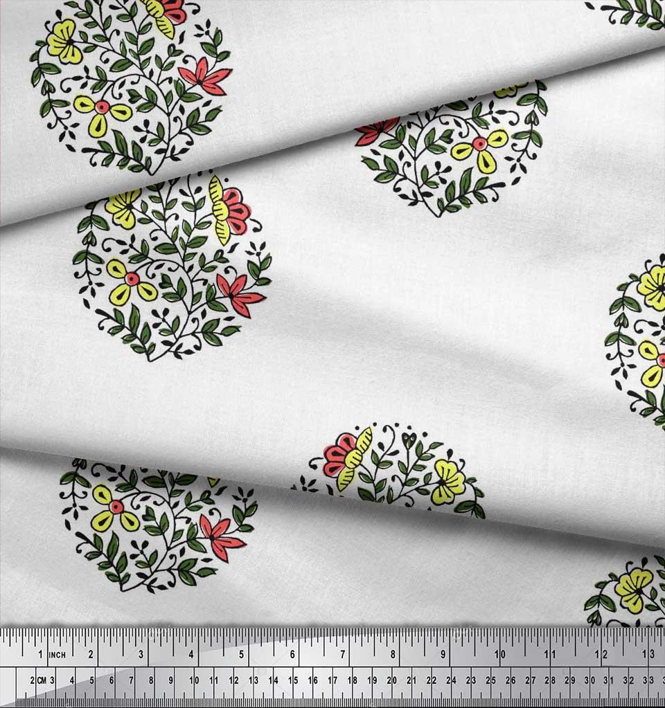 Soimoi-Fabric-Leaves-amp-Floral-Block-Print-Fabric-by-the-Yard-BP-101B thumbnail 13