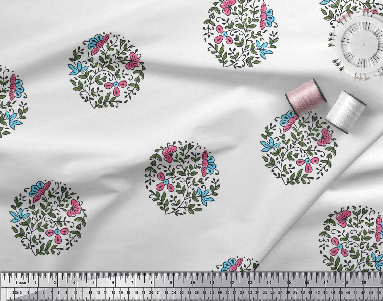 Soimoi-Fabric-Leaves-amp-Floral-Block-Print-Fabric-by-the-Yard-BP-101B thumbnail 9