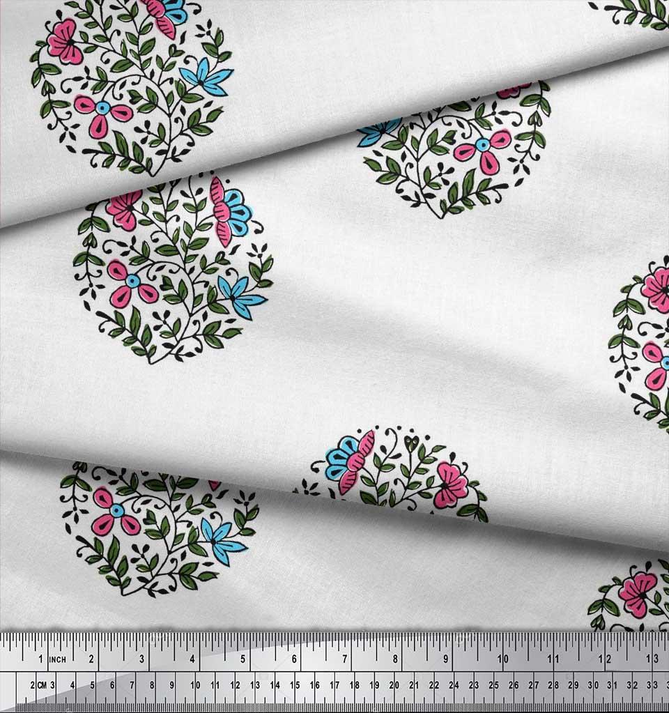 Soimoi-Fabric-Leaves-amp-Floral-Block-Print-Fabric-by-the-Yard-BP-101B thumbnail 10