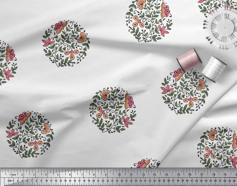Soimoi-Fabric-Leaves-amp-Floral-Block-Print-Fabric-by-the-Yard-BP-101B thumbnail 18