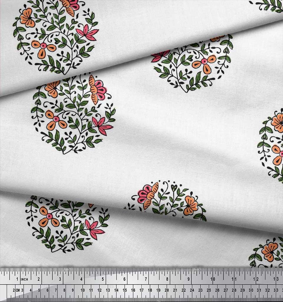 Soimoi-Fabric-Leaves-amp-Floral-Block-Print-Fabric-by-the-Yard-BP-101B thumbnail 19