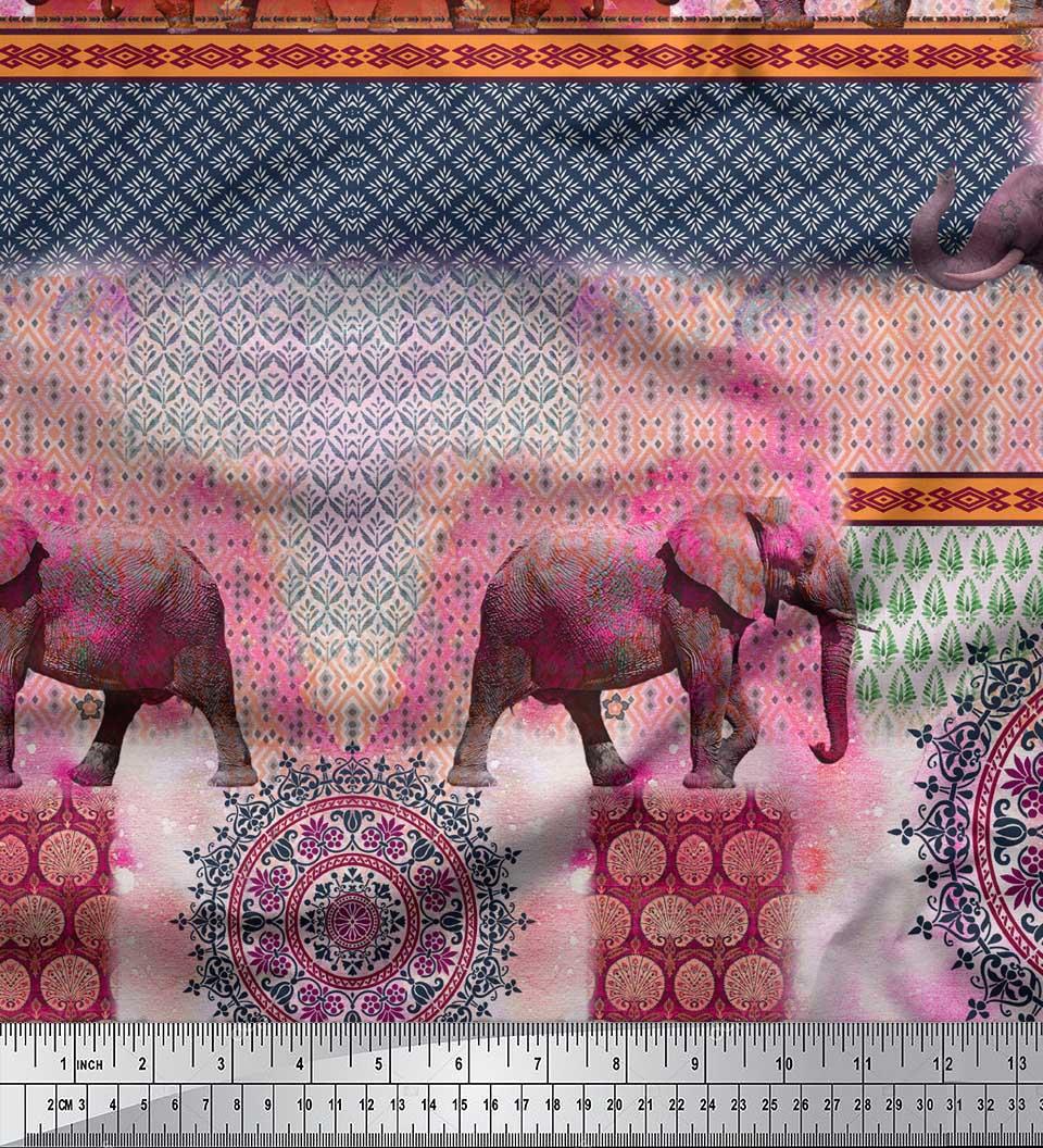 Soimoi-Cotton-Poplin-Fabric-Elephant-Panel-Print-Sewing-Fabric-metre-YIF thumbnail 3