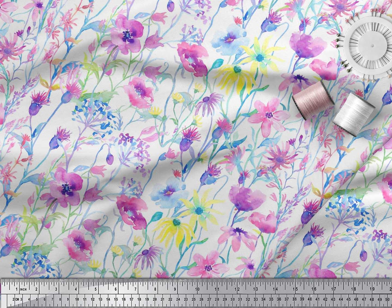 Soimoi-Cotton-Poplin-Fabric-Flower-Watercolor-Decor-Fabric-Printed-mUb thumbnail 3
