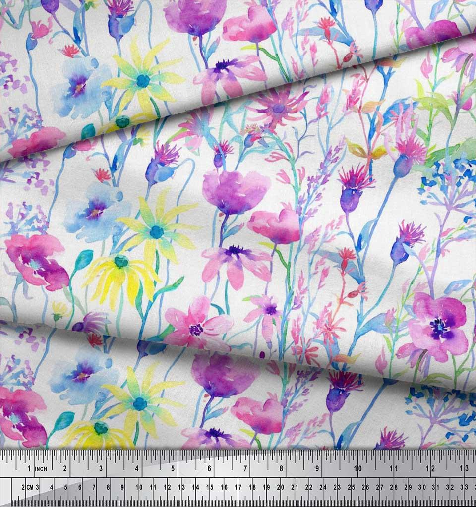 Soimoi-Cotton-Poplin-Fabric-Flower-Watercolor-Decor-Fabric-Printed-mUb thumbnail 4