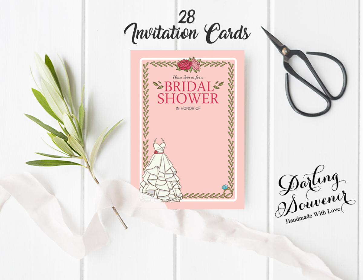 Details About Bridal Shower Invitation Card 28 Pcs Write In Blank Party Supplies Ds In396a