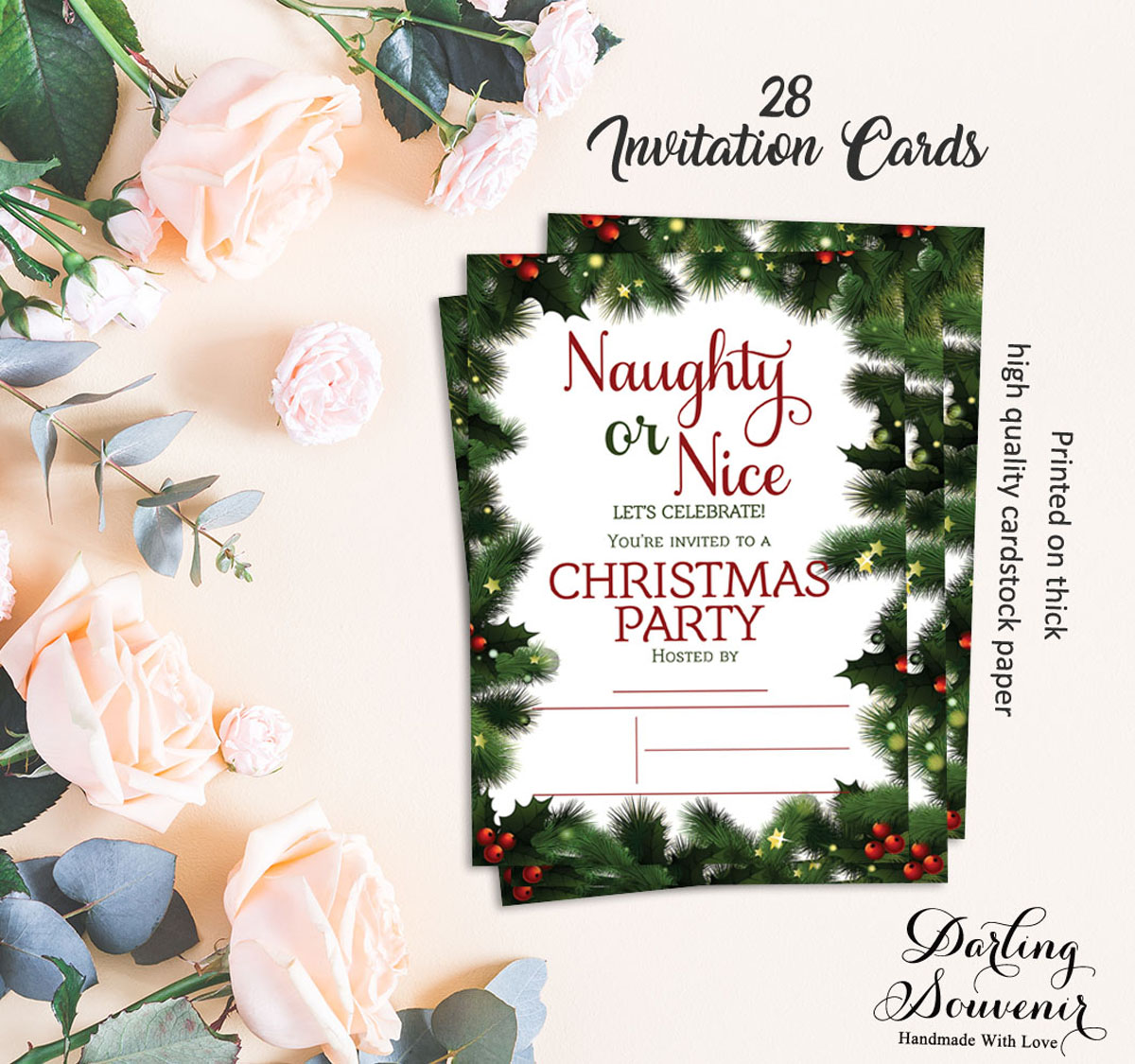Details About Christmas Invitation Card Printable Write Blank Party Supplies 28 Pcs Ds In477a