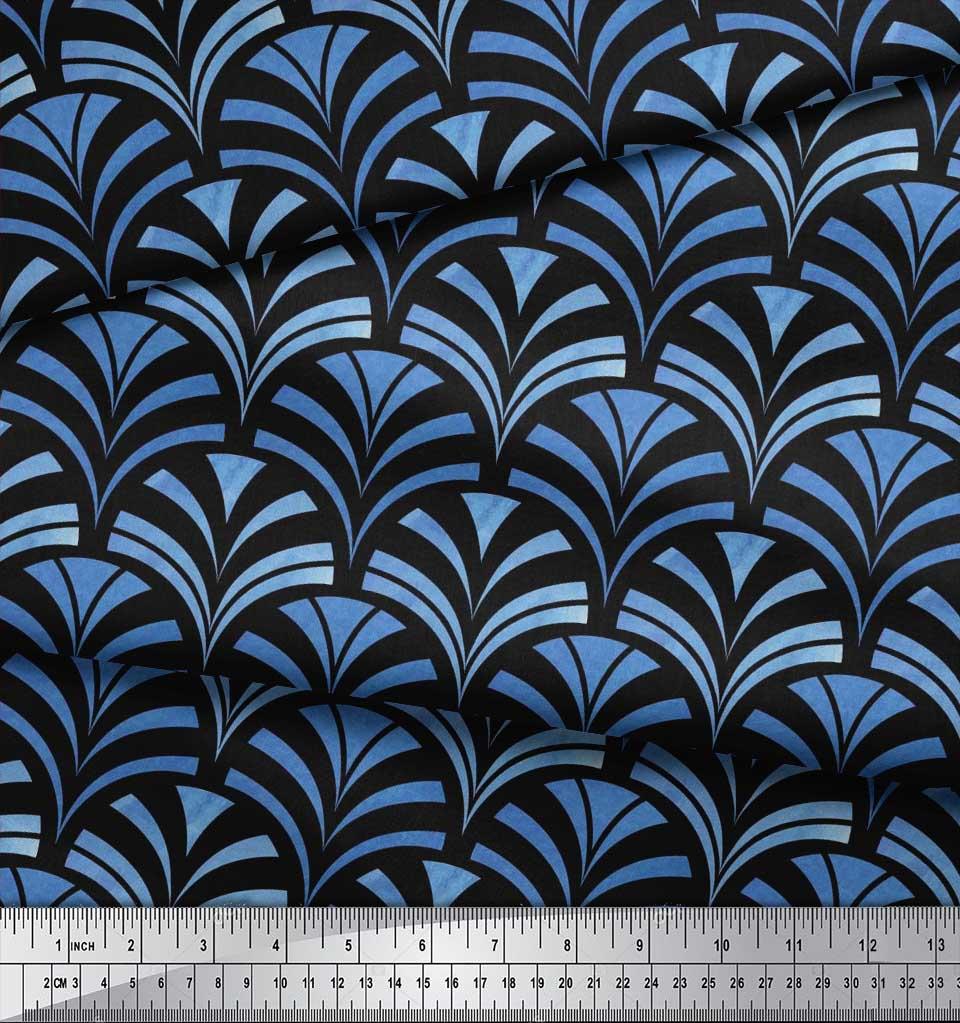 Soimoi-Black-Cotton-Poplin-Fabric-Scales-Geometric-Fabric-Prints-ms1 thumbnail 3
