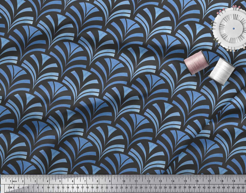 Soimoi-Black-Cotton-Poplin-Fabric-Scales-Geometric-Fabric-Prints-ms1 thumbnail 4