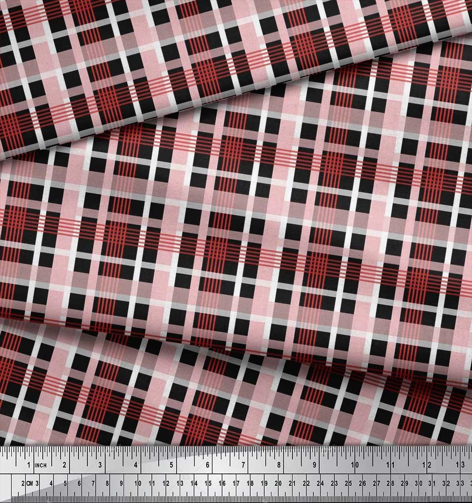 Soimoi-Cotton-Poplin-Fabric-Check-Check-Print-Fabric-by-metre-42-L8O thumbnail 3