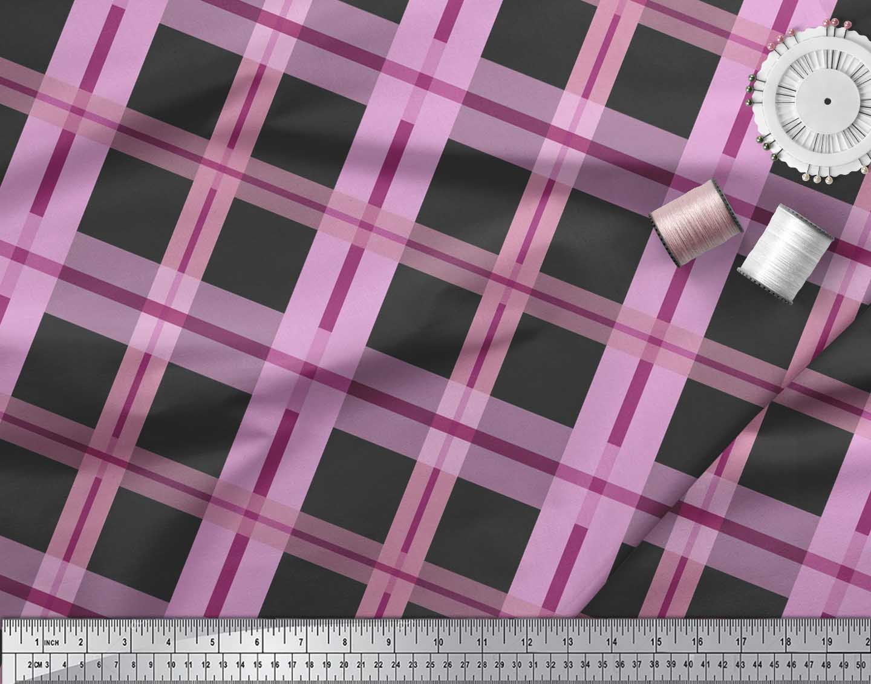 Soimoi-Cotton-Poplin-Fabric-Check-Check-Print-Fabric-by-the-metre-bzR thumbnail 3