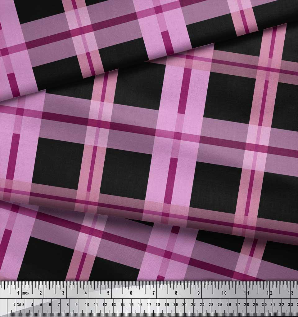 Soimoi-Cotton-Poplin-Fabric-Check-Check-Print-Fabric-by-the-metre-bzR thumbnail 4