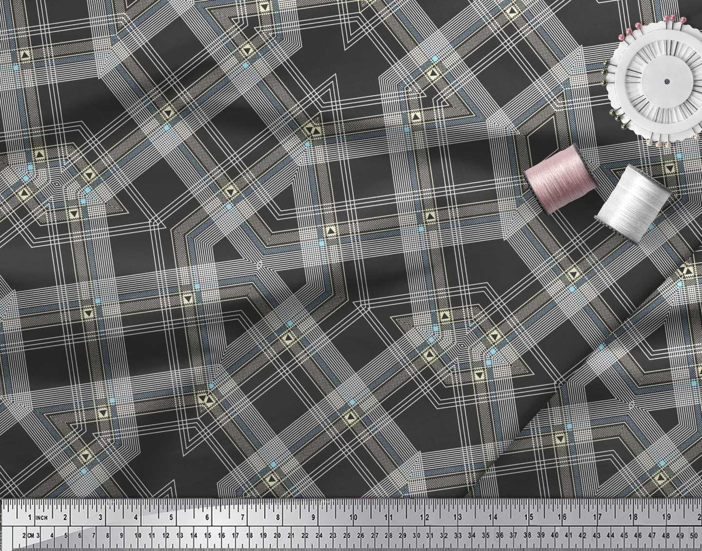 Soimoi-Cotton-Poplin-Fabric-Gingham-Check-Print-Sewing-Fabric-metre-dnJ thumbnail 3