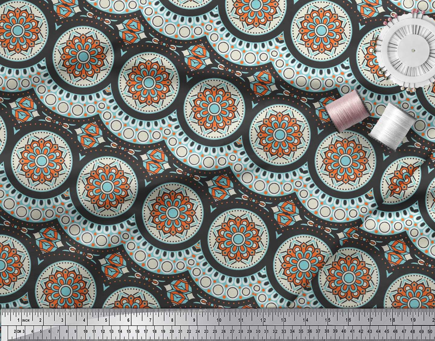 Soimoi-Cotton-Poplin-Fabric-Aboriginal-Mosaic-Printed-Fabric-1-metre-7Ra thumbnail 3