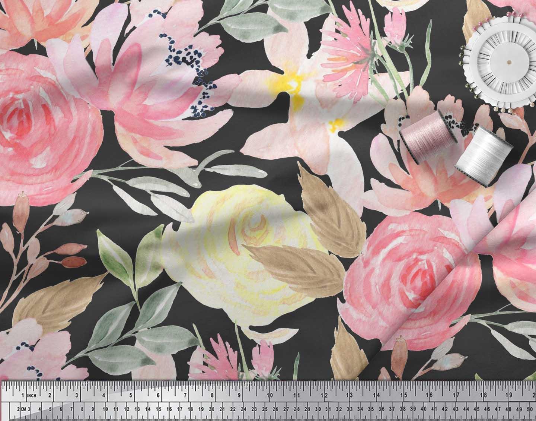 Soimoi-Black-Cotton-Poplin-Fabric-Leaf-Floral-Print-Fabric-by-the-qyI thumbnail 4