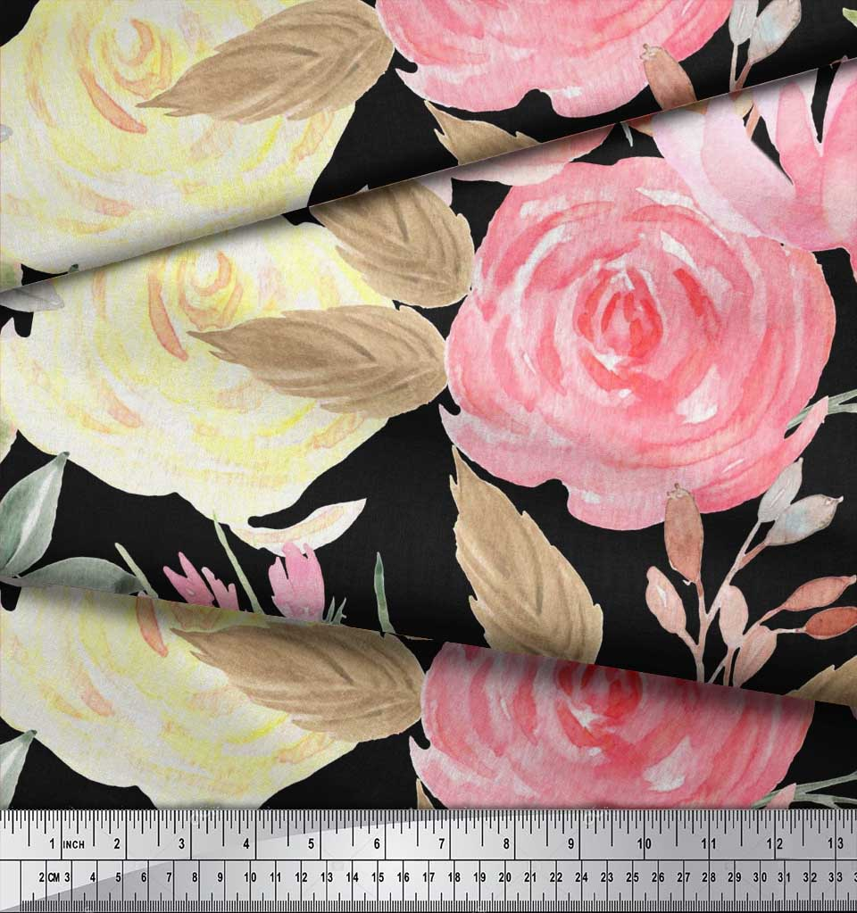 Soimoi-Black-Cotton-Poplin-Fabric-Leaf-Floral-Print-Fabric-by-the-qyI thumbnail 3