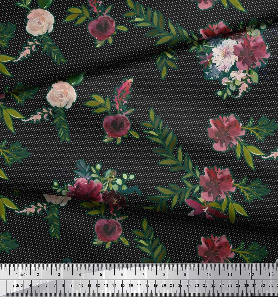 Soimoi-Black-Cotton-Poplin-Fabric-Leaves-amp-Ranunculus-Floral-Print-3bL thumbnail 3