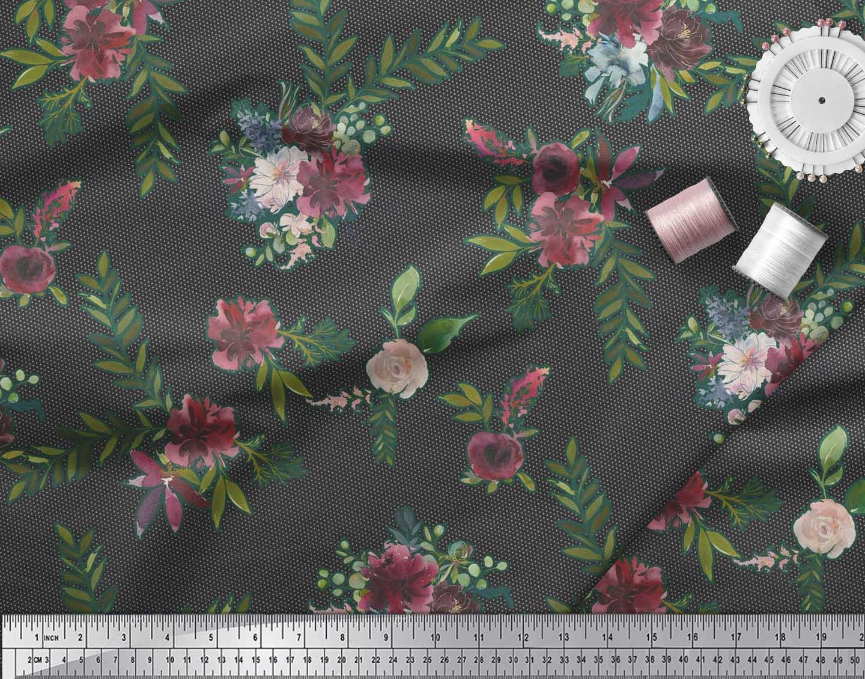 Soimoi-Black-Cotton-Poplin-Fabric-Leaves-amp-Ranunculus-Floral-Print-3bL thumbnail 4