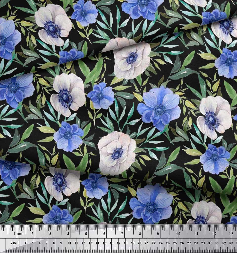 Soimoi-Black-Cotton-Poplin-Fabric-Leaves-amp-Anemone-Floral-Print-Ztg thumbnail 3
