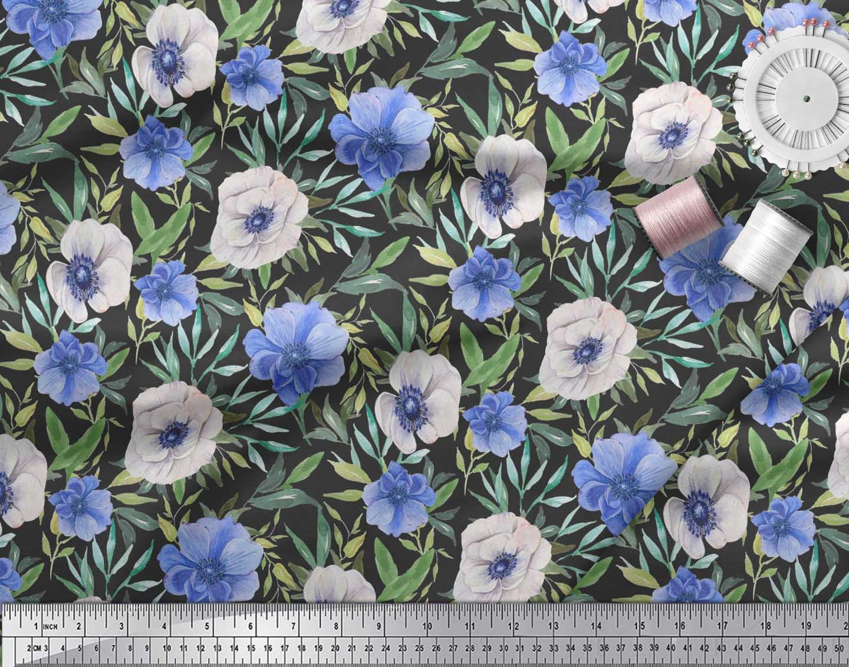 Soimoi-Black-Cotton-Poplin-Fabric-Leaves-amp-Anemone-Floral-Print-Ztg thumbnail 4