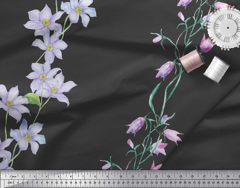 Soimoi-Black-Cotton-Poplin-Fabric-Leaves-amp-Tulip-Floral-Print-Fabric-W0u thumbnail 3