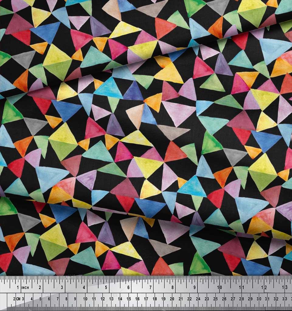 Soimoi-Black-Cotton-Poplin-Fabric-Triangle-Geometric-Print-Fabric-0sF thumbnail 4