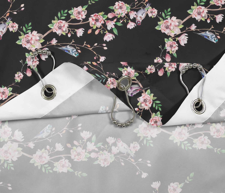 miniature 19 - S4Sassy Noir fleur et chardonneret oiseau rideaux de douche imprim?s-JpP