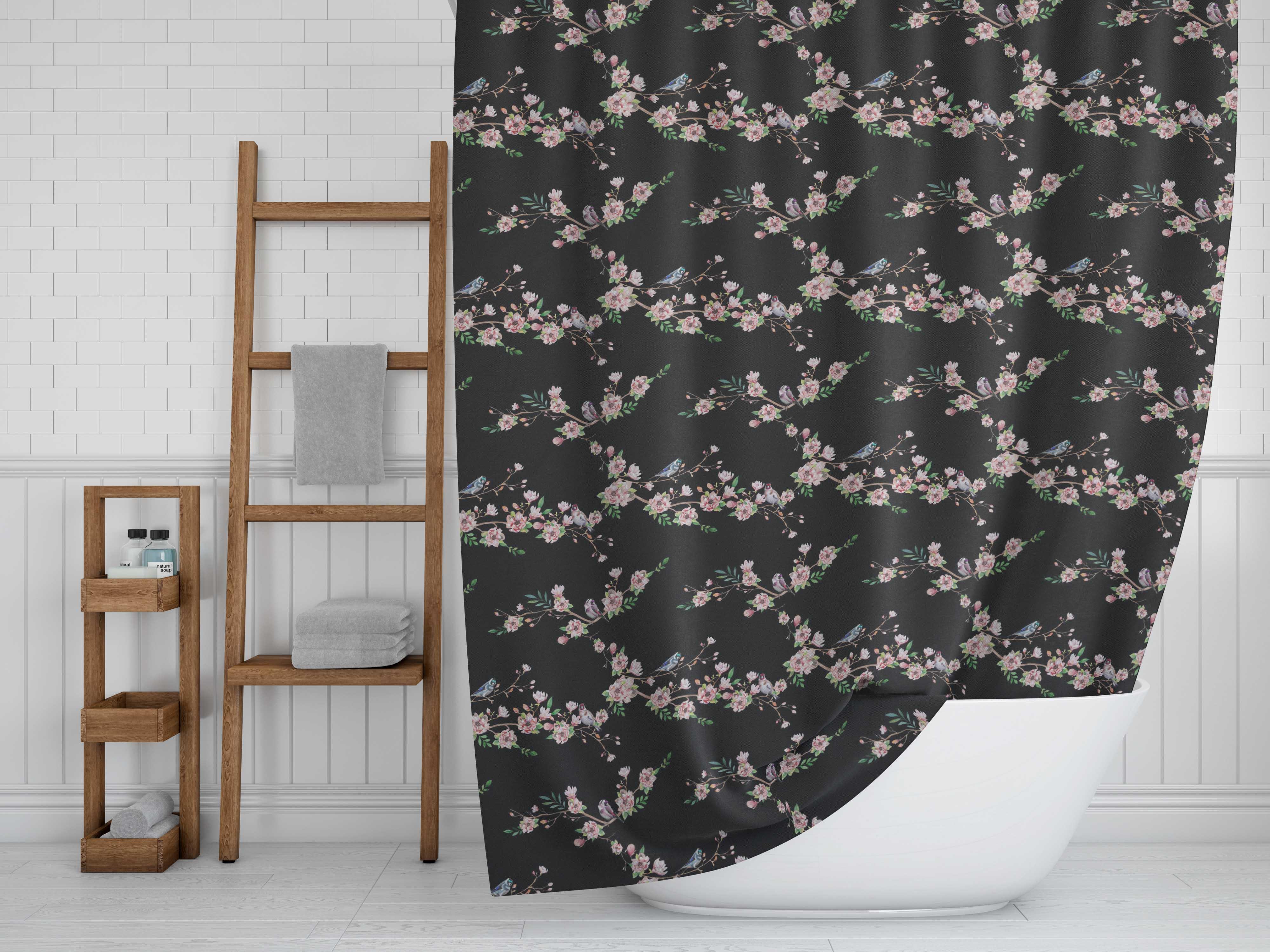 miniature 15 - S4Sassy Noir fleur et chardonneret oiseau rideaux de douche imprim?s-JpP